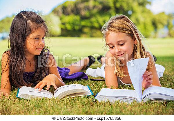 gosses, livres, lecture - csp15765356