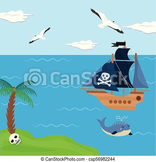 Gosses Pirateboat Piraterie Voilier Bord Mer Illustration Enfants Pirate Vecteur Paume Fond Ile Bateau Dessin Canstock