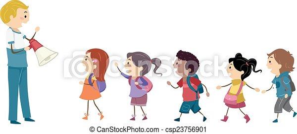 gosses, stickman, étudiant, foret - csp23756901