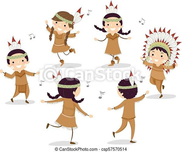 gosses, stickman, danse, américain, cercle, indigène - csp57570514
