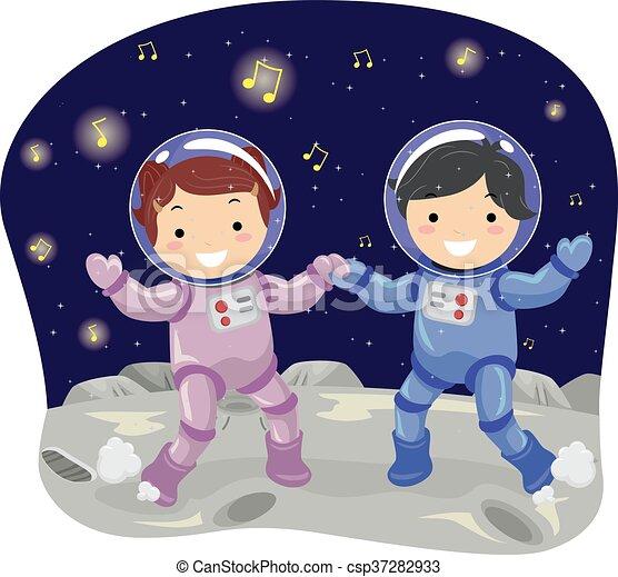 gosses, stickman, danse, lune - csp37282933