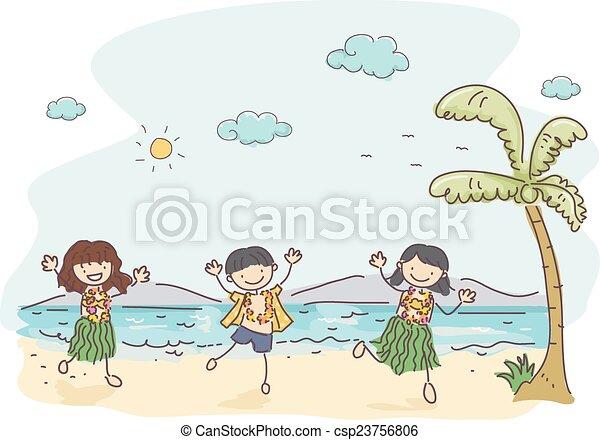 gosses, stickman, hawaien - csp23756806