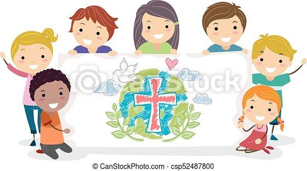 gosses, stickman, illustration, groupe, bannière, chrétiens - csp52487800