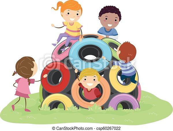 gosses, stickman, pneu, dôme, illustration, cour de récréation - csp60267022