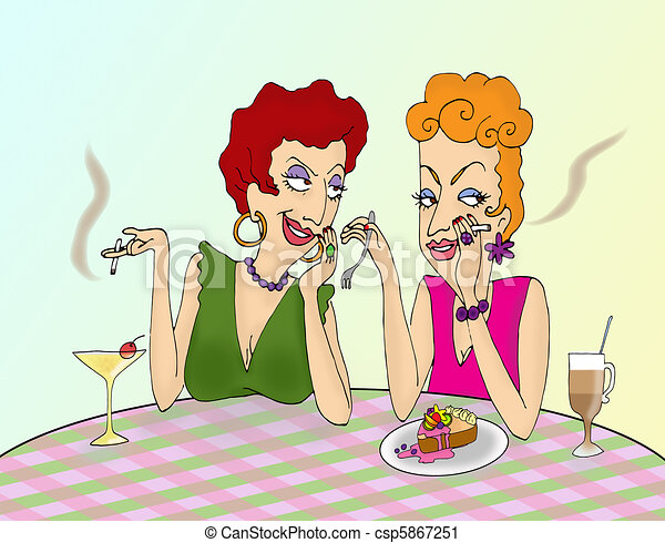 to ladies gossiping in a cafe rh canstockphoto com Gossip Illustrations Gossip Graphics