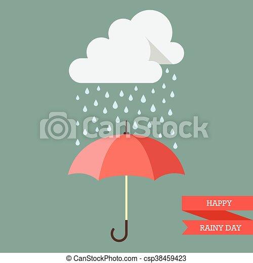 Nube con lluvia cayendo sobre paraguas - csp38459423