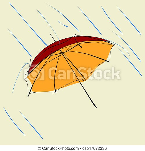 Un paraguas rojo con gotas de lluvia sobre fondo beige - csp47872336
