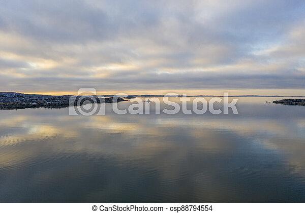Gothenburg archipelago in winter drone photo - csp88794554