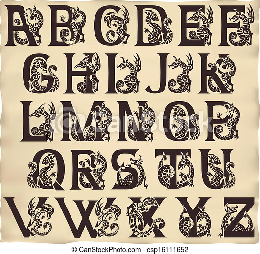 gothic alphabet with gargoyls in medieval style - csp16111652