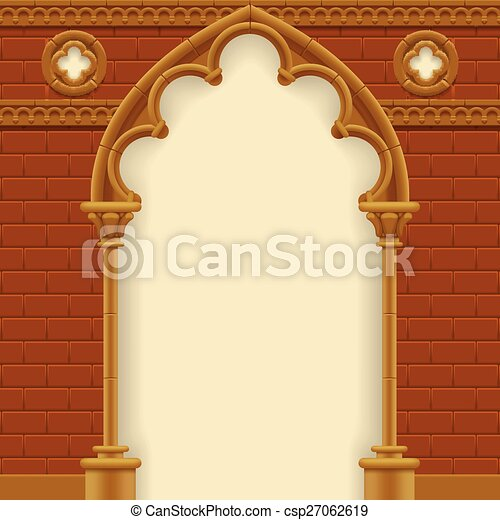 Gothic Arch And Wall Vector