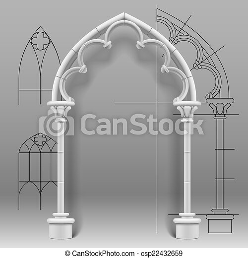 Vector Image Of The Gothic Arch Against A Paper Background