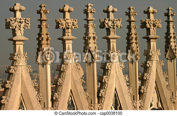 Gothic Architecture The Roof Detail At Cathedral In Milan