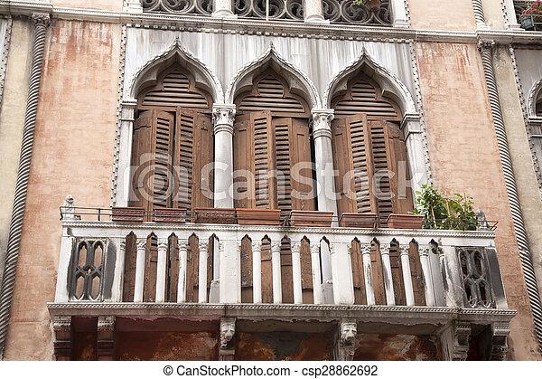 Gothic Balcony in Venice - csp28862692