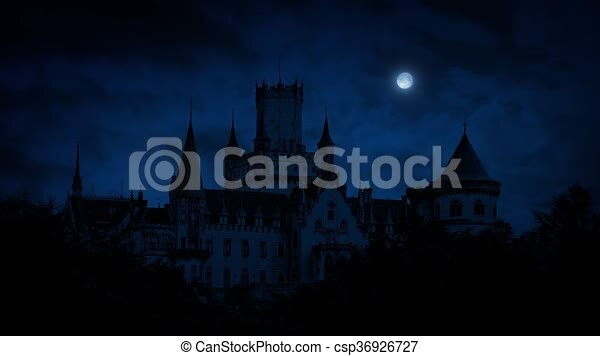 Gothic Castle At Night With Moon Large A Full In The Sky Above
