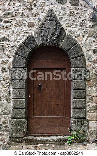 Gothic Door Stock Photo & Gothic door. Ancient carved stone door. stock photo - Search ... pezcame.com