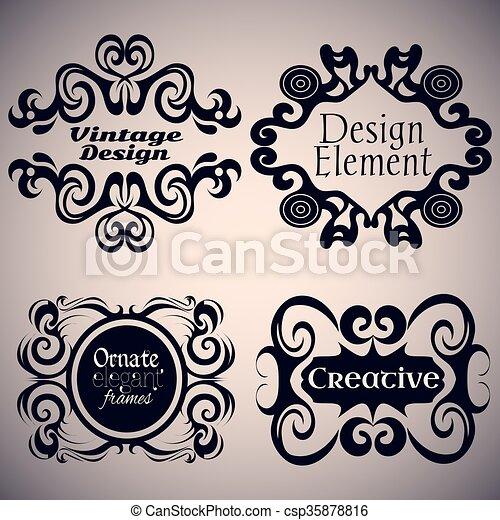 Gothic Frame Set Calligraphic Design Elements