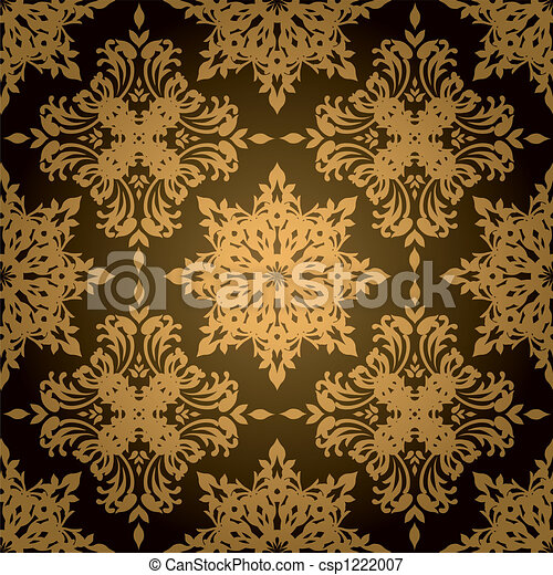 Gothic Gold Leaf And Black Style Wallpaper Design That