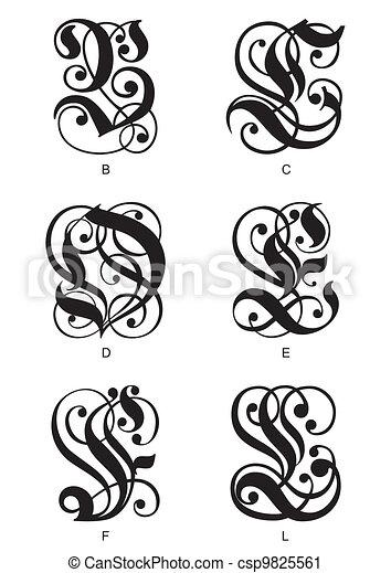 Gothic Initials Letters Calligraphic B C