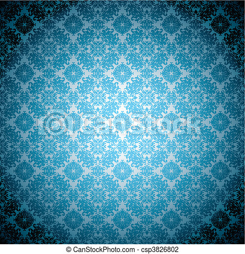 Gothic Pale Blue Wallpaper Blue Abstract Floral Seamless Background