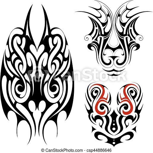gothic style tattoo shapes tribal art tattoo set in maori eps rh canstockphoto com gothic cross clipart gothic cross clipart