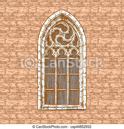 Vector Vintage Illustration Of Gothic Window In Old Fashioned Hand Drawn Style Seamless Wall Background