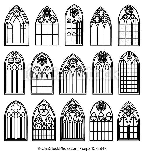 Gothic Window Silhouettes Set Of Design Frames Black