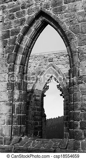 Gothic Windows In Black And White