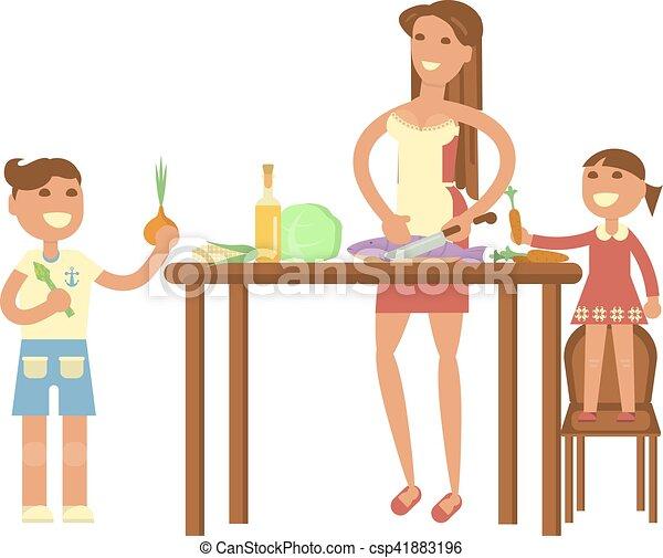 Gotowanie Dzieci Gospodyni Adults Rodzina Dziewczyna Dzieci