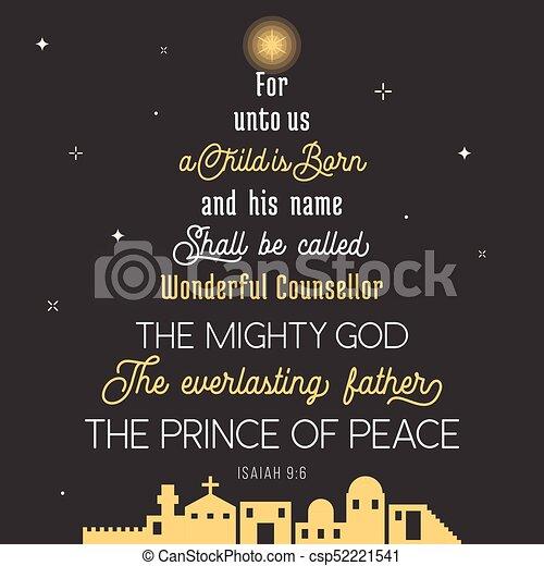 Gott, mächtig, prinz, unto, frieden, vers, wunderbar, weihnachten ...