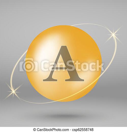 goud, druppel, vitamine, capsule., icon., pil - csp62558748