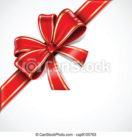 goud, geschenk buiging, vector, lint, rood - csp9100763