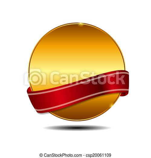 goud, illustratie, etiket, vector, mal, meldingsbord - csp20061109
