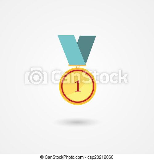 goud, toewijzen, plek, eerst, medaille, pictogram - csp20212060