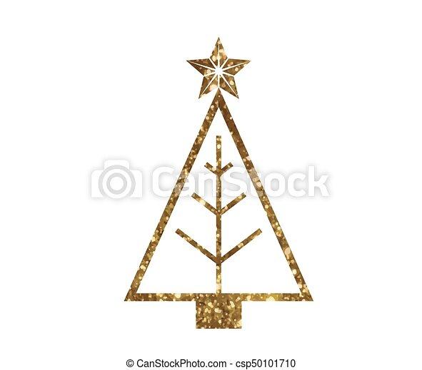 gouden, boompje, vector, lijn, schitteren, kerstmis, pictogram - csp50101710
