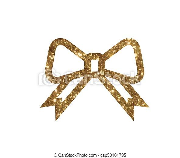 gouden, cadeau, vector, lijn, schitteren, lint, pictogram - csp50101735
