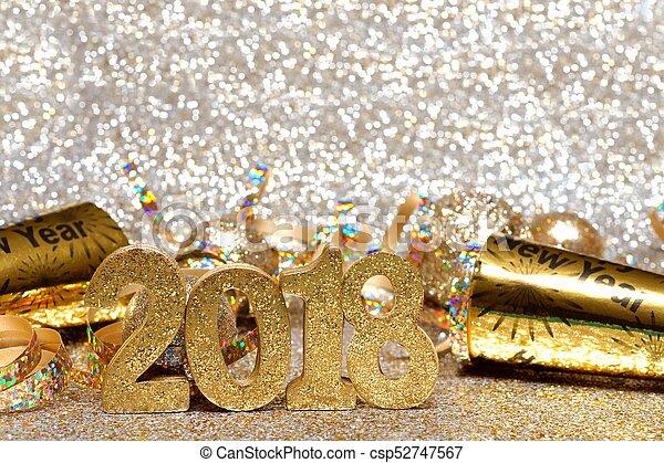 gouden, decor, eva, jaren, 2018, nieuw, getallen - csp52747567