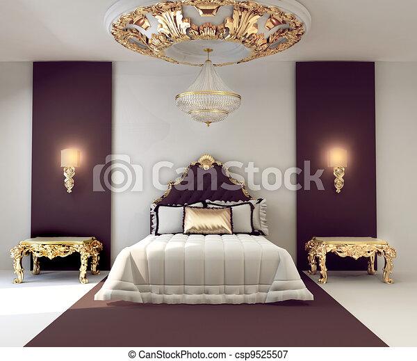 Gouden, dubbel, koninklijk, luxe, slaapkamer, interieur, meubel.