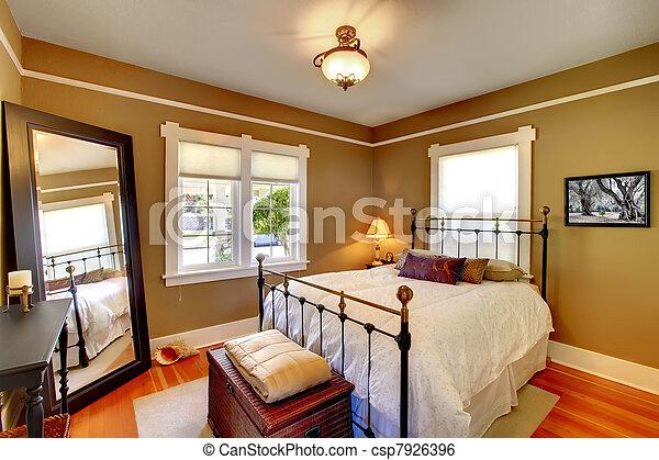 Gouden, eik, floor., muren, slaapkamer, interieur.... stockbeeld ...