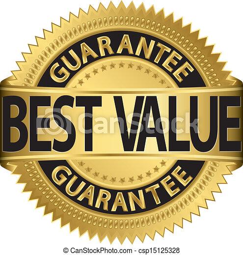 gouden, etiket, best, waarde, borg staan voor - csp15125328