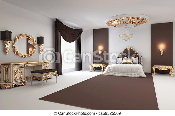 Gouden, fiscale woonplaats, koninklijk, slaapkamer,... stock ...