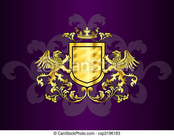gouden, griffins, armen, jas - csp3196183