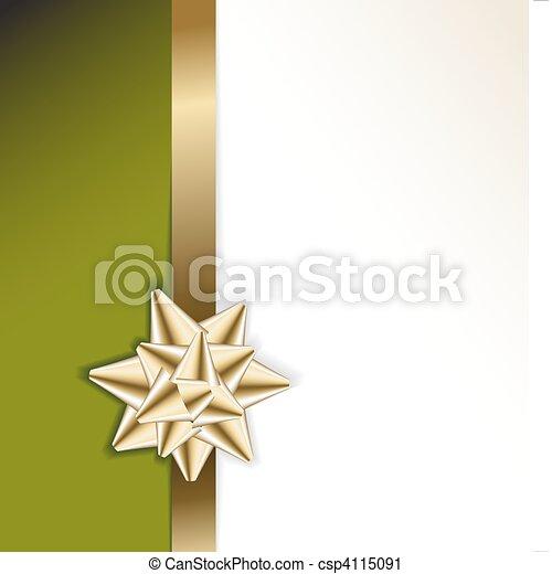 gouden, groene, lint, achtergrond, boog - csp4115091