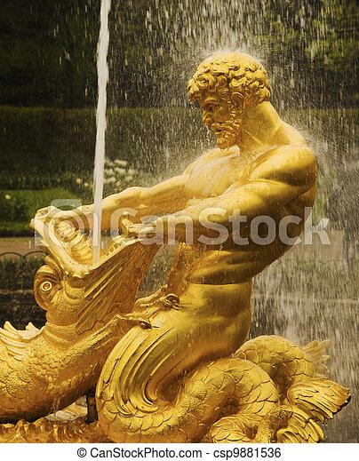 gouden, groot, pedro, peter, paleis, el, fuente, (san, de, palacio, petersburgo), en, grande, fontijn, petersburg), dorada, (st. - csp9881536
