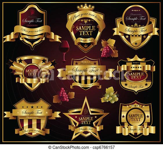 gouden, labels:, vector, wijntje, alco - csp6766157