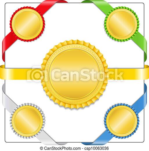 gouden, linten, medailles - csp10063036