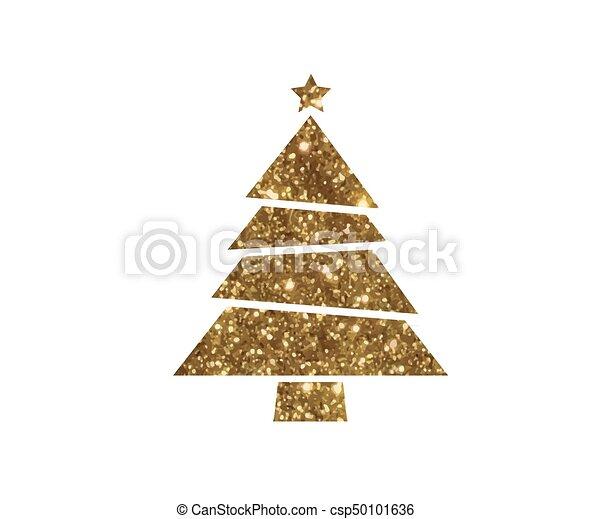 gouden, plat, boompje, vector, schitteren, kerstmis, pictogram - csp50101636