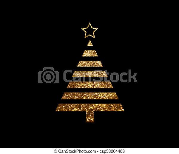 gouden, plat, boompje, vrijstaand, schitteren, kerstmis, pictogram - csp53204483