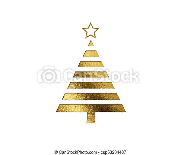 gouden, plat, boompje, vrijstaand, schitteren, kerstmis, pictogram - csp53204487