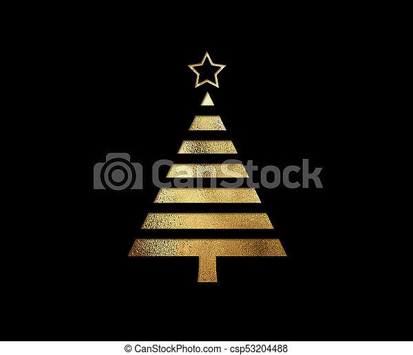 gouden, plat, boompje, vrijstaand, schitteren, kerstmis, pictogram - csp53204488