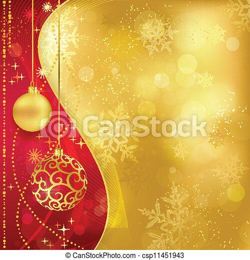gouden, rood, baubles, achtergrond, kerstmis - csp11451943